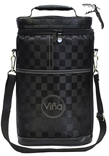 Vina 2 Bottle Wine Tote Bag, Insulated Black Grid Wine or Beer Cooler Carrier Case with Shoulder Strap + Free Corkscrew, Wine Gift Bag for Travel and Picnic, Black (1 Bottle Cooler Wine)