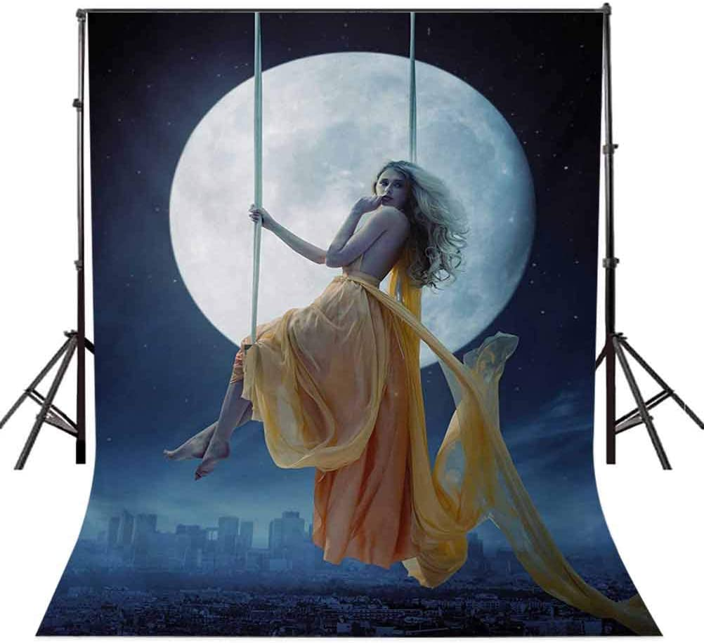 Moon 6.5x10 FT Photography Backdrop Yellow Haired Woman on a Swing in The Sky The Moon and The Buildings Print Background for Child Baby Shower Photo Vinyl Studio Prop Photobooth Photoshoot