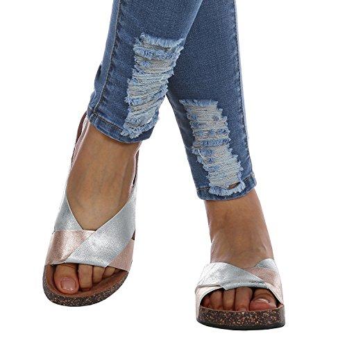 Syktkmx Womens Slip on Cross Strap Slides Color Block Flat Platform Cork Sandals