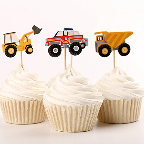 Fumee 24 Truck Tractor Excavator Dumpers Car Cupcake Decorative Cupcake Toppers for Kids Party