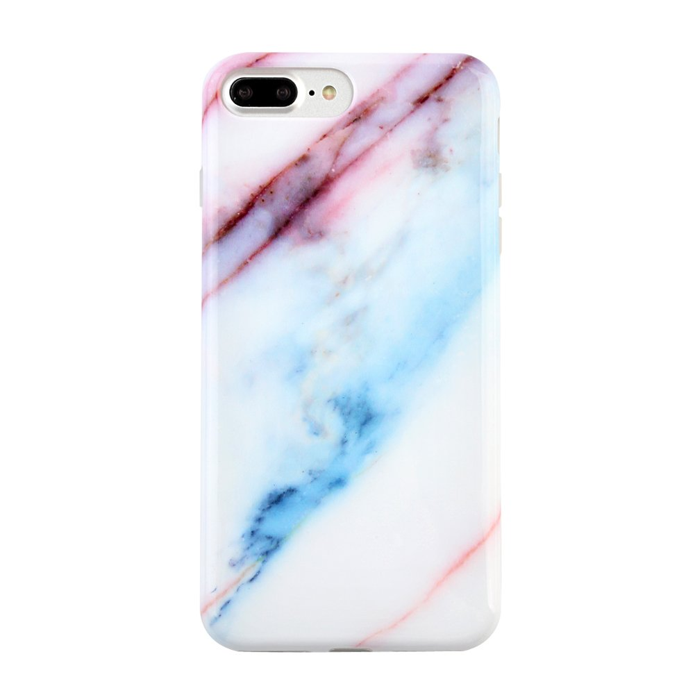 Blue Pink Marble iPhone 7 PLUS Case by Velvet Caviar Protective Phone Cover (Berry Blue Marble)