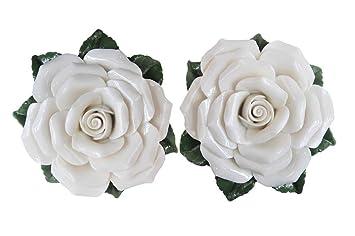 2 Roses Rose céramiques - Composition floral artificielles ...