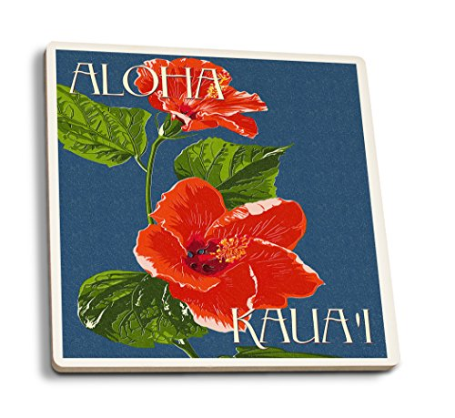 - Lantern Press Kaua'i, Hawaii - Red Hibiscus (Set of 4 Ceramic Coasters - Cork-Backed, Absorbent)