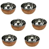 6 ounce, Copper Round Dinnerware Serving Bowl for Salad, Pasta, Vegetables, Popcorn and Soup, Set of 6, Brown