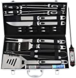 ROMANTICIST 21pc BBQ Grill Accessories Set with Thermometer - Ideal Grill BBQ Gift for Men on Fathers Day - Heavy Duty Stainless Steel Grilling Utensils with Non-Slip Handle in Aluminum Case