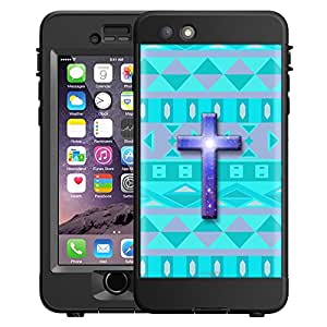 Skin Decal for LifeProof NUUD Apple iPhone 6 Case - Cross on Aztec Andes Tribal Tea