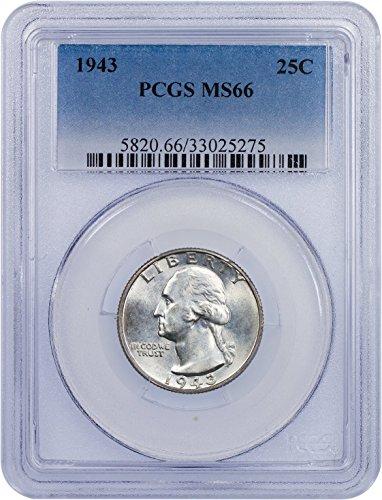 1943 P Washington Quarter Quarter MS 66 PCGS