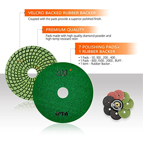 SPTA 8pcs Diamond Wet Polishing Pads Set For Granite Stone Concrete Marble Floor Grinder or Polisher, 50#-3000# with Hook & Loop Backing Holder Disc (4 inch) by SPTA (Image #2)