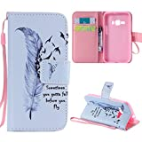 Galaxy J1 2016 Case, Galaxy Amp 2 Case, Galaxy Express 3 Case, Harryshell(TM) Feather Wallet Folio Leather Flip Case Cover with Card Holder for Samsung Galaxy J1 (2016)