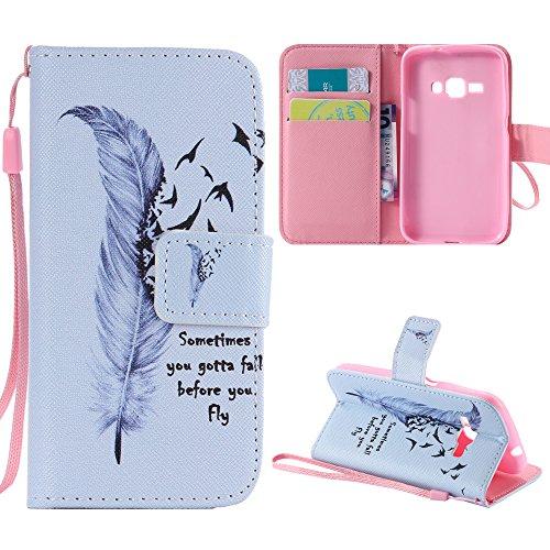 Galaxy J1 2016 Case, J120 Case, Harryshell(TM) Wallet Folio Leather Flip Case Cover with Card Holder for Samsung Galaxy J1 (2016)/ J120F/ J123