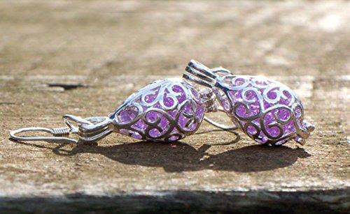 Recycled Early 1900's Purple Medicine Bottle Filigree Teardrop Earrings