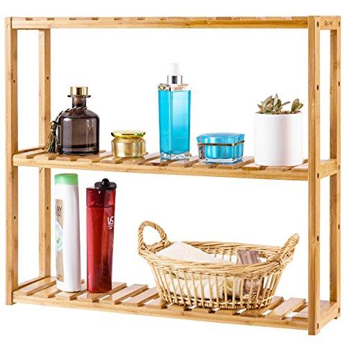 COSTWAY 3-Tier Bamboo Shelf Rack Adjustable Utility Storage Free Standing Bathroom Kitchen Living Room Organizer Holder Stand (3-Tier)