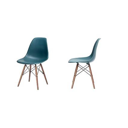 Amazoncom Tabouret Chair Teal Set Of 2 Molded Plastic 60s Elegant