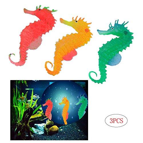 Comidox Cute Glow In The Dark Luminous Silicone Simulation Seahorse Hippocampus Aquarium Fish Tank Decoration 3pcs(green/orange/red