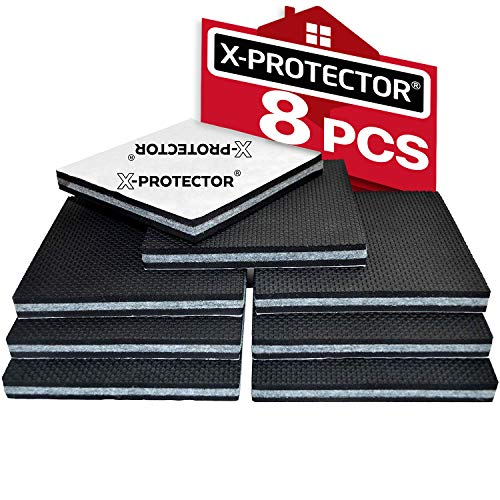 "Non Slip Furniture Pads X-Protector -Premium 8 pcs 4"" Furniture Pad! Best SelfAdhesive Furniture Grippers Rubber Feet Couch Stoppers -Ideal Furniture Floor Protectors Furniture Feet for Fix Furniture"