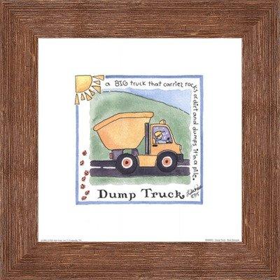 Framed Dump Truck- 8x8 Inches - Art Print (Brown Barnwood Frame)