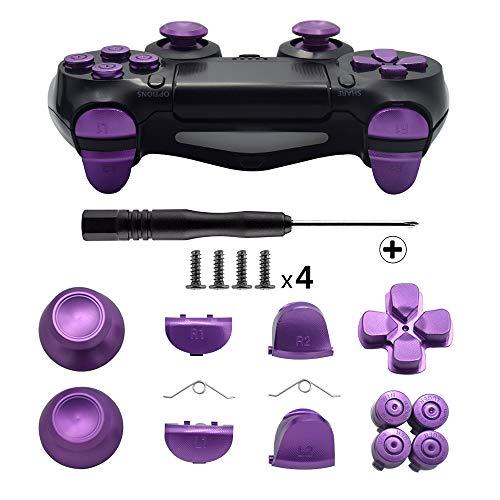 TOMSIN Metal Buttons for DualShock 4, Aluminum Metal Thumbsticks Analog Grip & Bullet Buttons & D-pad & L1 R1 L2 R2 Trigger for PS4 Controller Gen 1(Metal Purple)