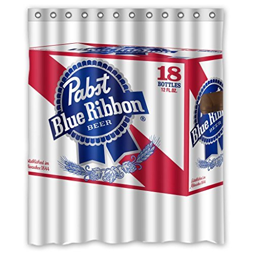 "PABST blue ribbon durable fabric Shower Curtain Measure 60""(w)x72""(h)"