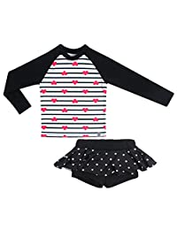 OBEEII Little Girl Long Sleeve Rash Guard Bikini Swimsuit Set Sunsuit for Toddler Kid