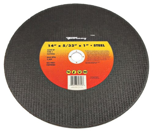 Forney 72356 Chop Saw Blade, Type 1 High Speed Metal with 1-Inch Arbor, A24R-BF, 14-Inch-by-5/32-Inch (Type 1 Chop Saw)