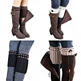 RRiody 1-4 Pairs Women's Girls Winter Leg Warmer Crochet Knit Boot Socks Topper Cuff (4 Color)
