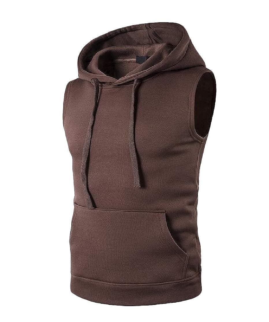 Cromoncent Mens Sleeveless Drawstring Vest Pullover Hooded Solid Color T-Shirt