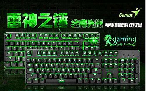 Beteran Genuis Thor Hammer 104 Keys All Key LED Backlit Ergonomics Multimedia Waterproof Professional E-Sports Gaming Computer PC Laptop USB Wired Steel Keyboard with CHERRY MX BLUE Switches For CF DOTA LOL WOW
