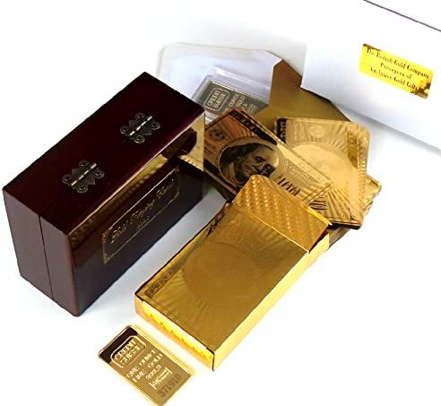 Juego de cartas en lingote de oro (caja dorada y pulida, 24 ...