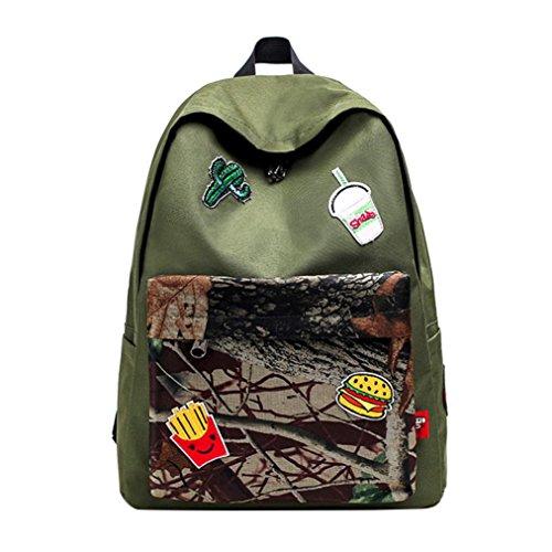 Vibola Teenage Girl Boy Zipper Backpack School Bags (Green)