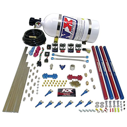 (Nitrous Express 90000-15 200-600 HP 8-Cylinder Gasoline Shark Direct Port System with 2 Solenoids and 15 lbs. Bottle)