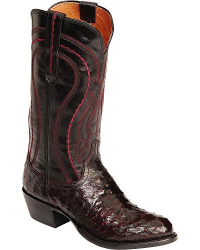 1883 Full Quill - Lucchese Men's Handmade 1883 Full Quill Ostrich Montana Cowboy Boot Medium Toe Black Cherry 13 EE US