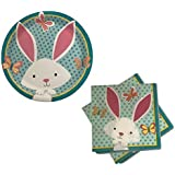 Easter Bunny Spring Celebration Paper Plates & Napkin - Party Supplies for 18 Guests (Bunny & Butterflies)