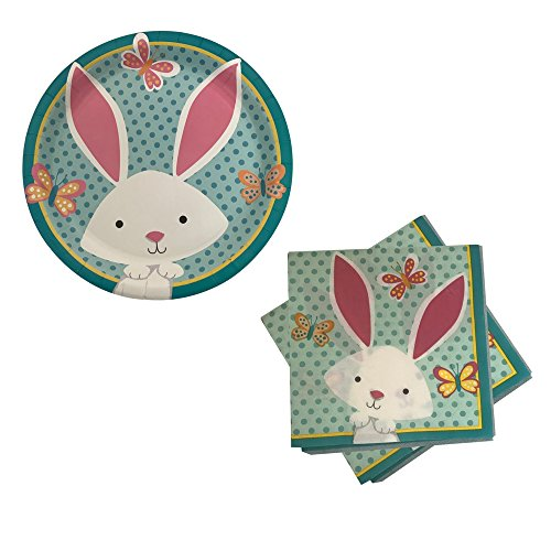 Easter Bunny Spring Celebration Paper Plates & Napkin - Party Supplies for 18 Guests (Bunny & Butterflies) - Easter Bunny Paper