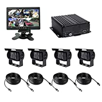 TrackSec 4 Channel AHD 720P H.264 HDD Vehicle Mobile DVR Security Surveillance Camera System, Black (T17-C030)