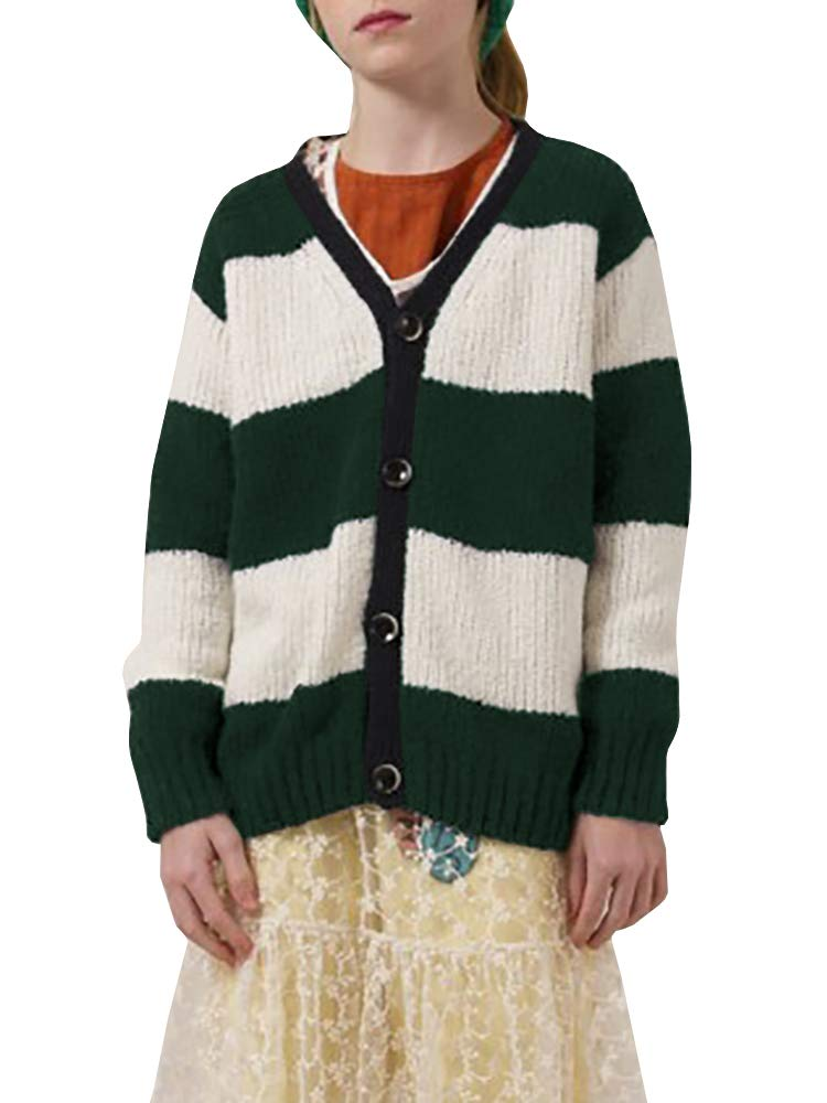 KunLunMen Girls Striped V Neck Sweater Long Sleeve Button Down Cable Knit Coat