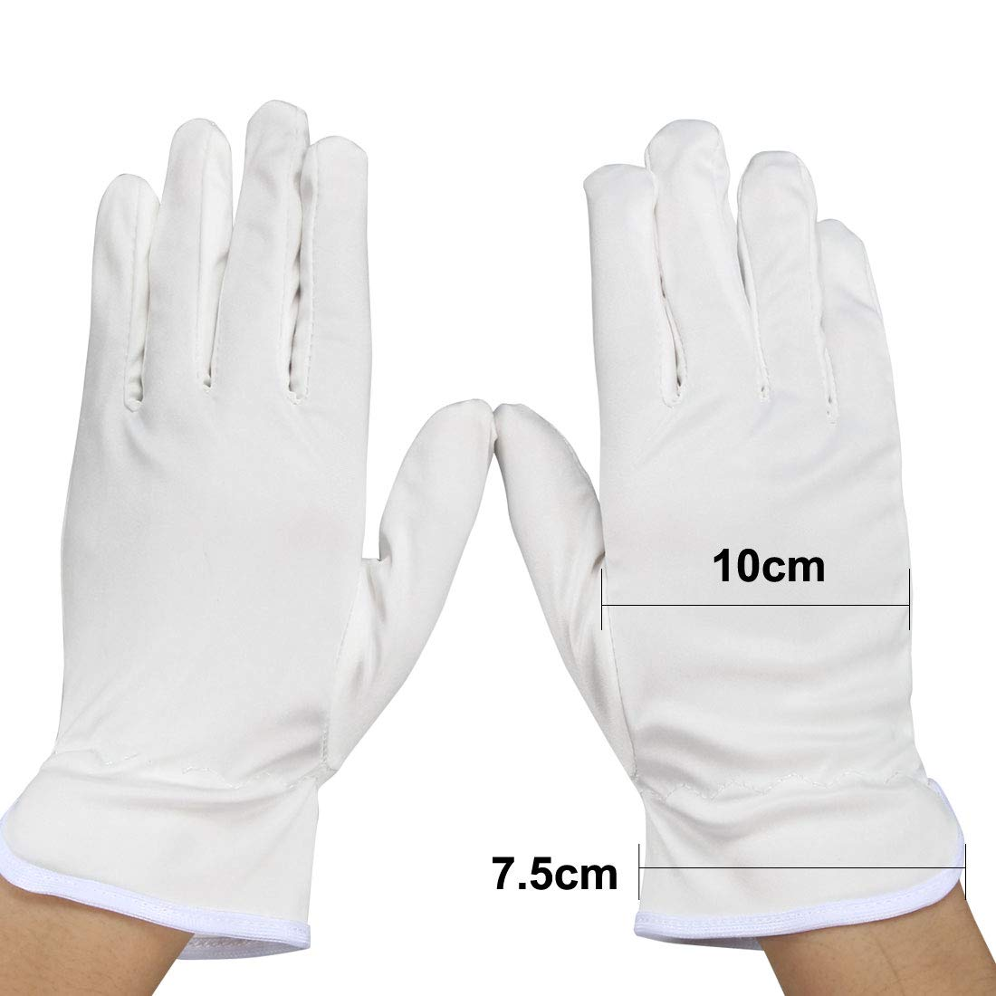 uxcell 1 Pair Microfiber Dust Proof Full Finger Working Protective Gloves White Small