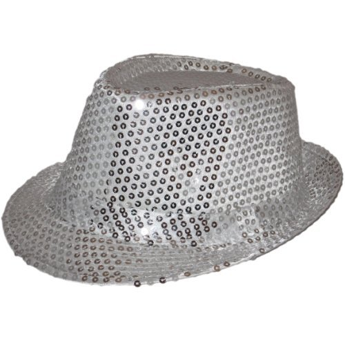 Sequin Fedora Hat Party Dance Men & Women Silver Pink Purple Red Gold (Silver)