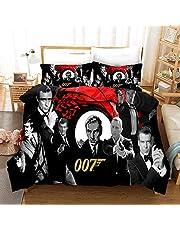 YIWANGO Påslakan James Bond sängkläder set med matchande örngott 2 delar | polybomull | lättskött | Enkelsäng, J-singelset 140 × 210 cm