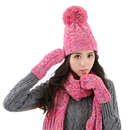(DTBG Knitted Beanie Gloves & Scarf Winter Set Warm Thick Fashion Hat Mittens 3 in 1 Cold Weather For Women Man)