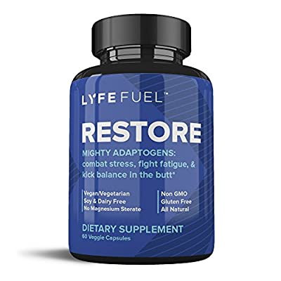 Natural Stress and Anxiety Relief Supplement - Adrenal Health & Cortisol Manager - Organic Mushroom Blend of Rhodiola Rosea, Ashwagandha, Reishi, Lions Mane + Milk Thistle (60 Capsules) | LYFE FUEL