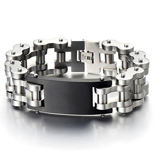 Masculine Large Stainless Identity Bracelet