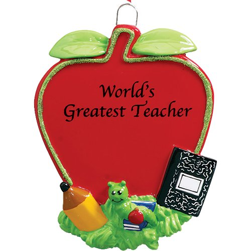Personalized Teacher's Red Apple Christmas Ornament for Tree 2018 - World's Greatest Lecturer with Pencil Notebook Worm New College High Middle Faculty Profession - Free Customization by Elves by Ornaments by Elves (Image #1)