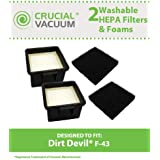 2 Dirt Devil F43 Filter Kits w/ HEPA Filter & Foam Pre-filter; Compare to Dirt Devil Part Nos. 2PY1105000 and 1PY1106000; Designed and Engineered by Think Crucial