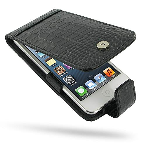 PDair iPod touch 6 / iPod touch 5 Leather Pouch (Black Crocodile Pattern), Genuine Leather Flip Magnetic Function Slim Fit Case - Leather Flip Case for Apple iPod touch 6th / iPod touch 5th Generation
