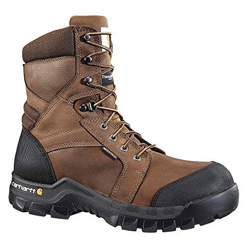 Carhartt - Cmf8389-10m - 8h Botas De Trabajo Para Hombres, Puntera De Material Compuesto, Material Superior De Cuero, Marrón Oscuro, Tamaño 10m