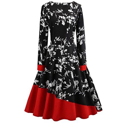 Manche Audrey Grande dcontracte Hepburn soire Noir Taille Longues rtro Robe 1950's Cocktail imprime Fleurs de Vintage UqYwq