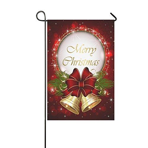 InterestPrint Red Christmas Bell Bow Polyester Garden Flag H