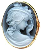 Cameo Ring Lady with Hat Sterling Silver 18k Gold Overlay Master Carved, Agate Stone Size 7.5 Italian