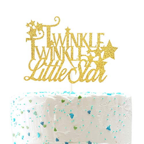Gold Glitter Twinkle Twinkle Little Star Cake Topper - for Baby Shower Birthday Wedding,Engagement,New Years Eve Party Decorations