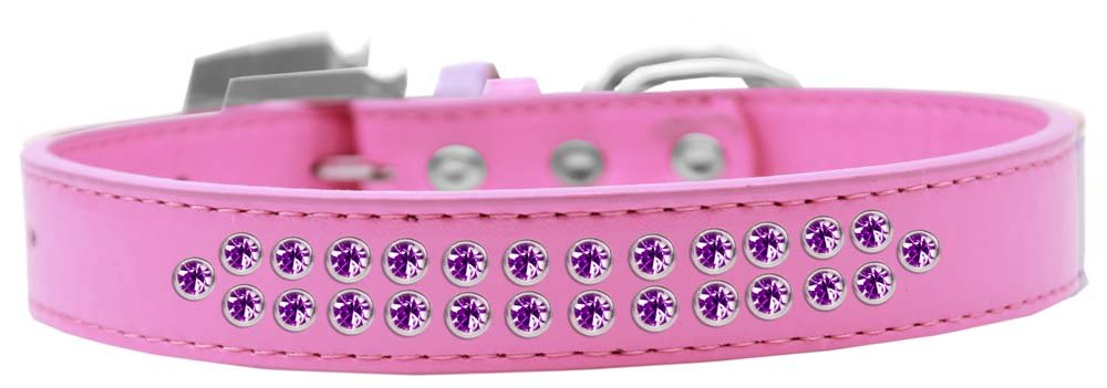 Mirage Pet Products Two Row Purple Crystal Bright Pink Dog Collar, Size 20 by Mirage Pet Products
